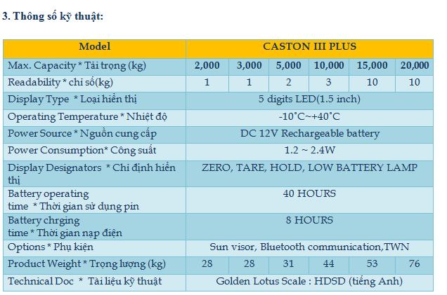 Cân điện tử treo thế hệ mới 3CAS (CASTON – III Plus)