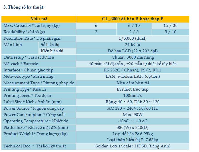 Cân điện tử siêu thị in Nhãn CL-3000 CAS (NEW) 2
